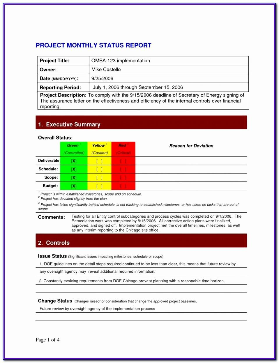 Free Weekly Project Status Report Template Excel