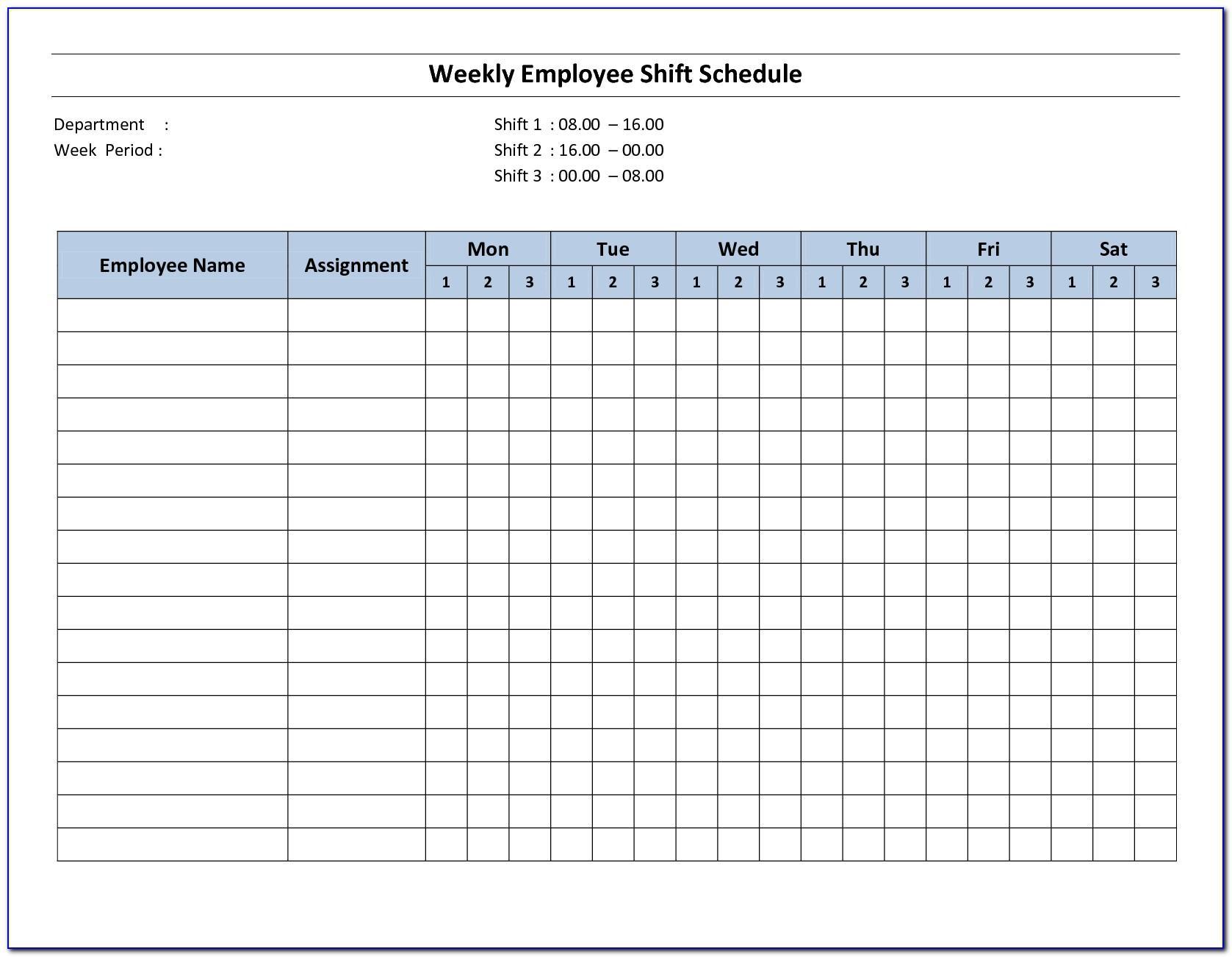 Free Weekly Work Schedule Template Printable