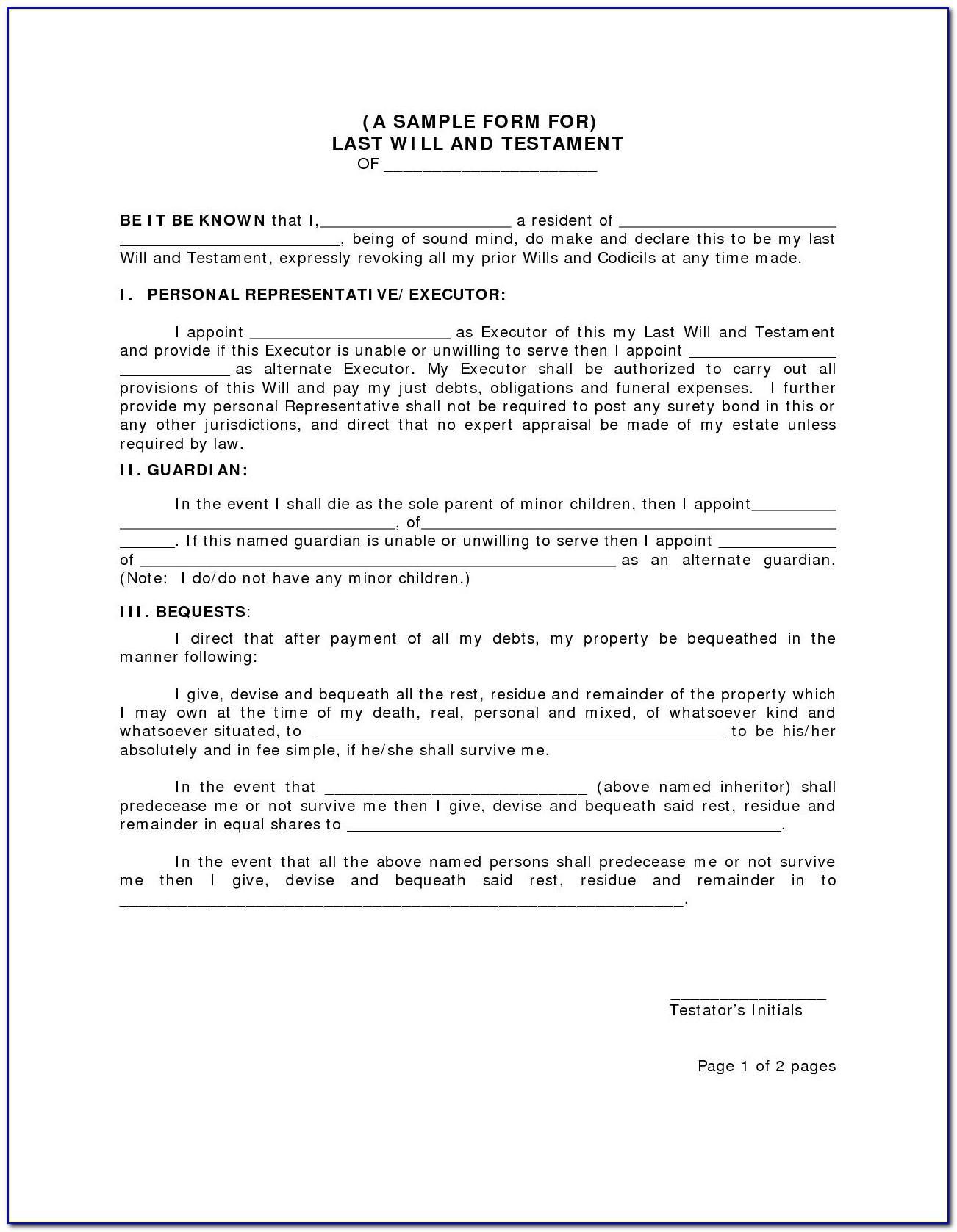 Free Will Codicil Form Uk