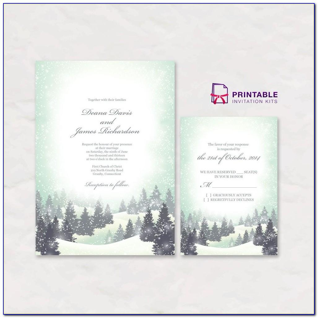 Free Winter Wonderland Wedding Invitation Templates