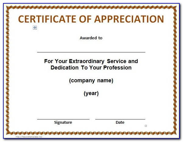 Free Word Template Certificate Of Appreciation