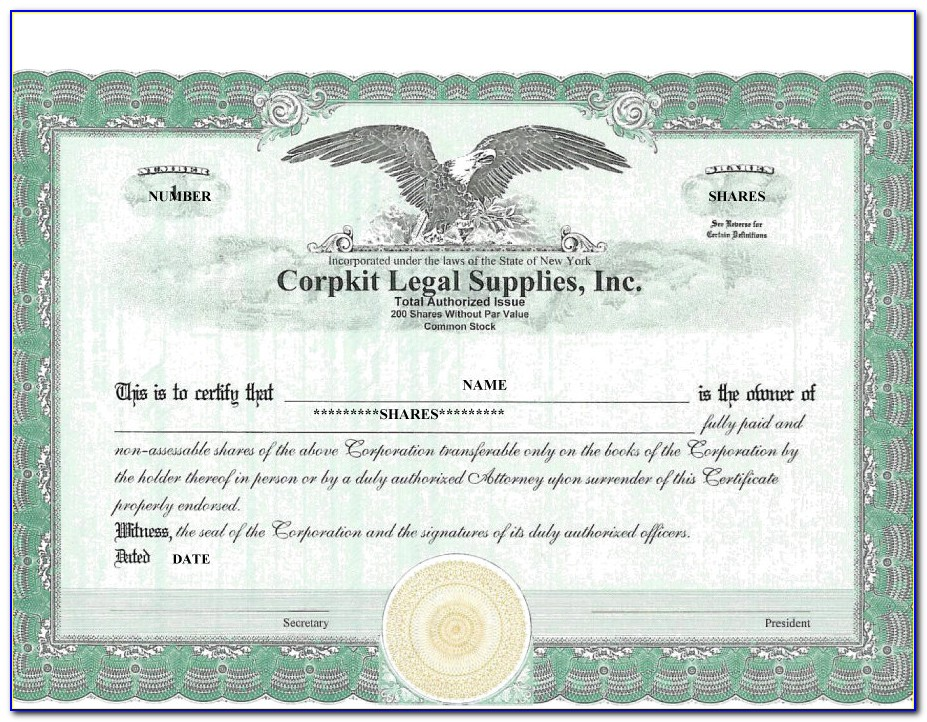 Free Word Template Stock Certificate