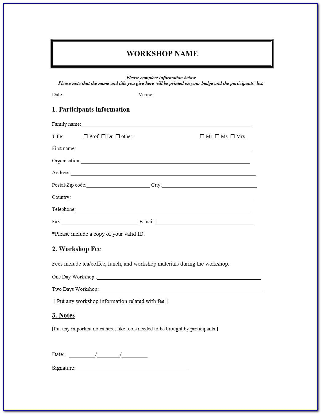 Free Workshop Registration Form Templates