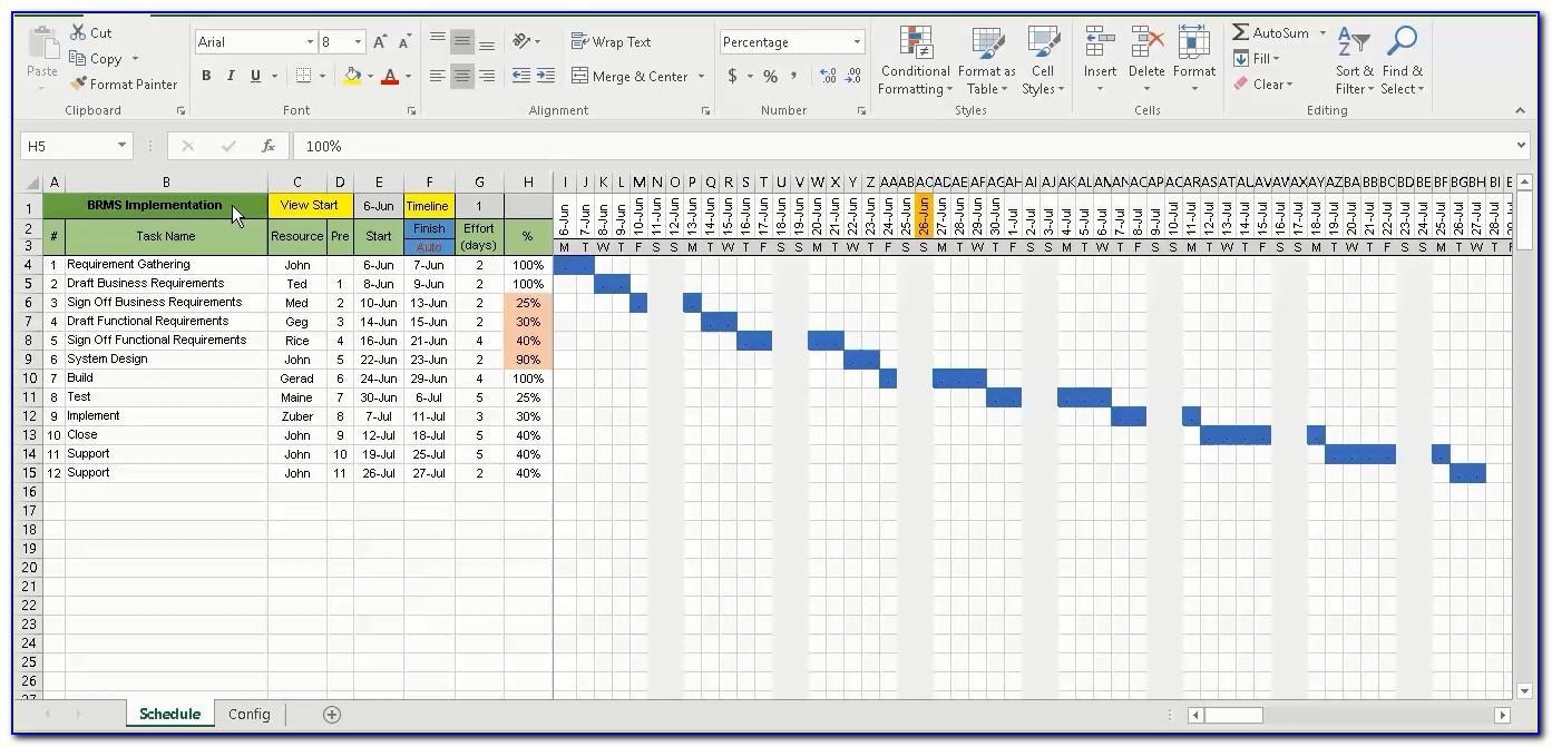 Gantt Chart Templates Excel Free