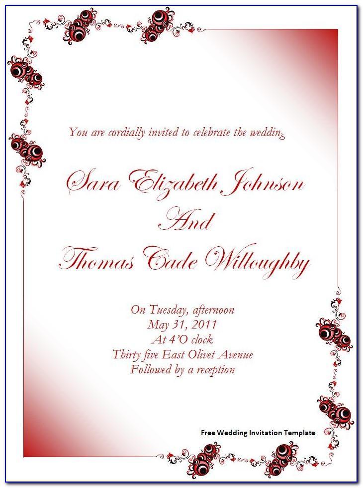 Hindu Wedding Invitation Templates Free Download Word