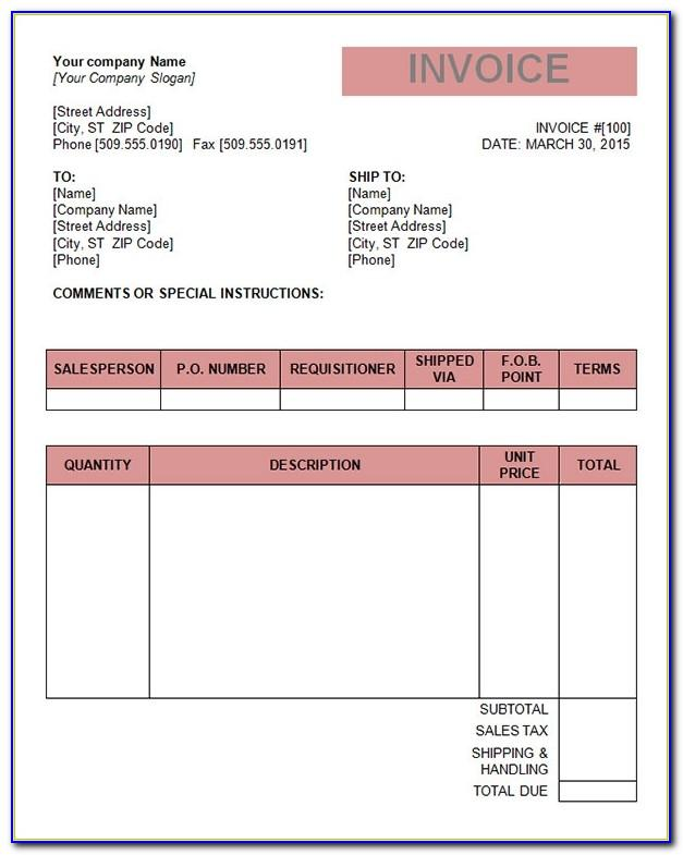 Invoice Format Word Document Download