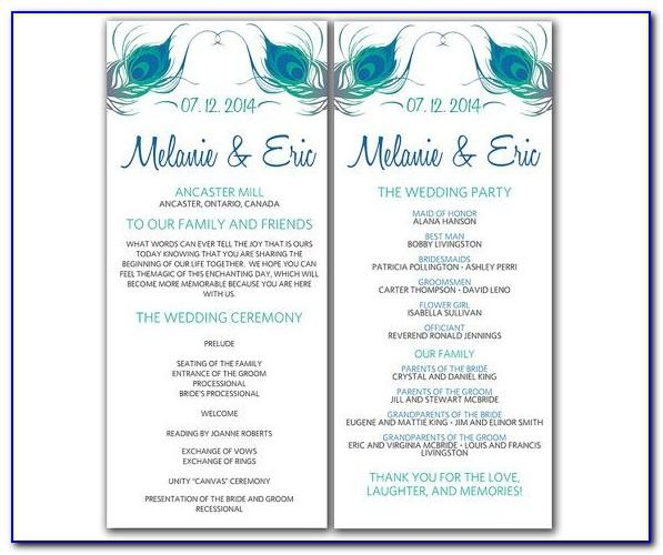 Jewish Wedding Program Template Microsoft Word