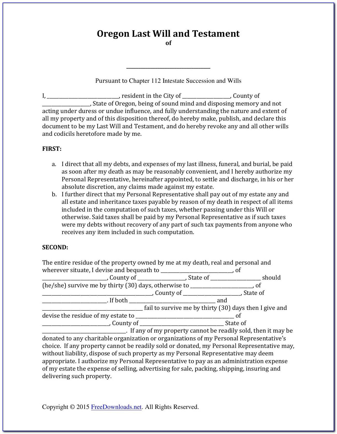 Last Will And Testament Templates Free