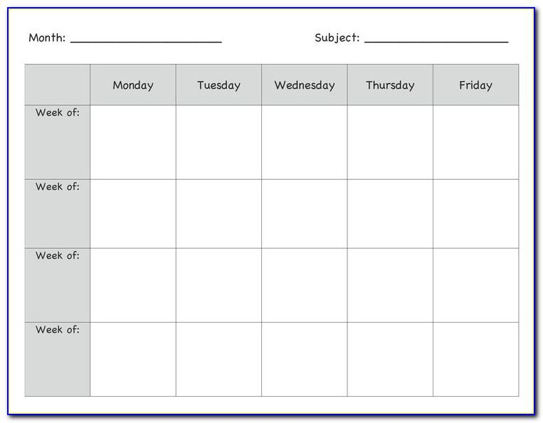Lesson Plan Calendar Template Excel