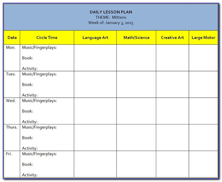 Lesson Plan Calendar Template Word