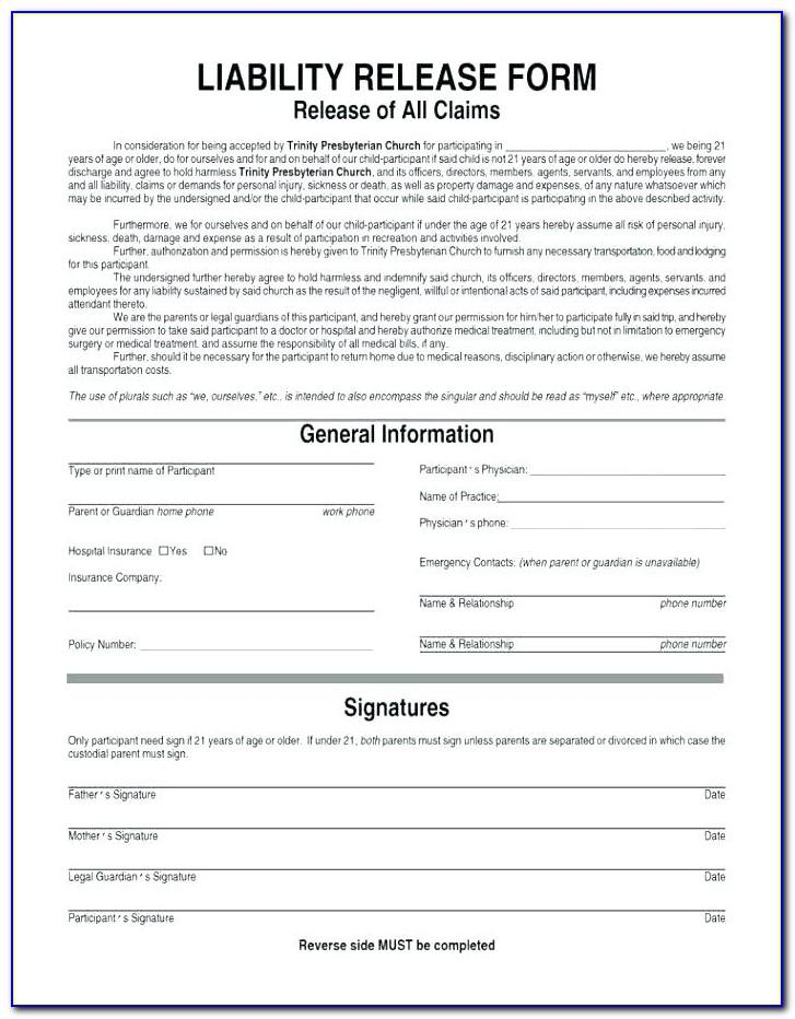 Liability Waiver Form Template Uk