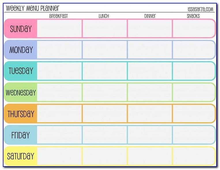 Meal Plan Calendar Template Free