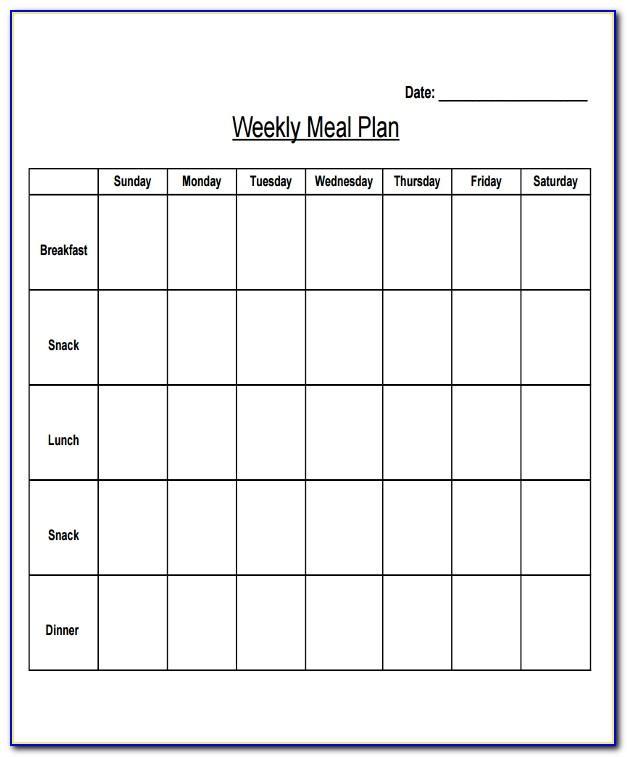 Meal Plan Calendar Template Pdf