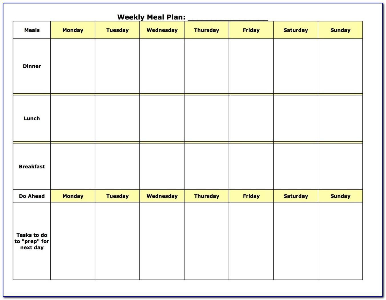 Meal Plan Calendar Template Word