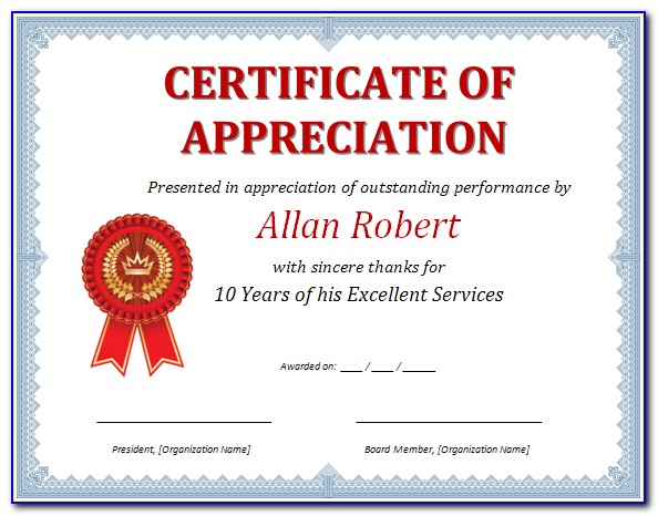 Microsoft Word Template Certificate Of Appreciation