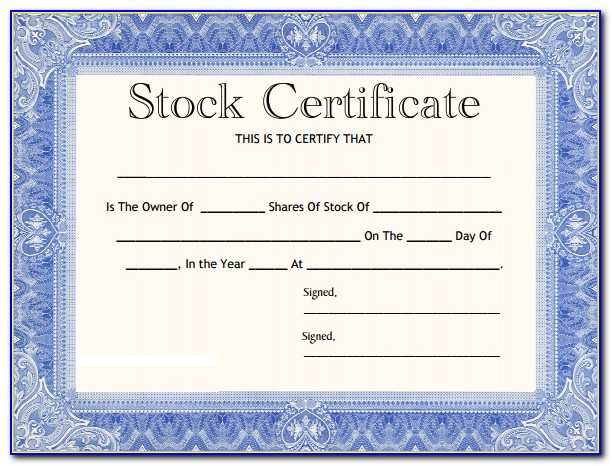 Microsoft Word Template Stock Certificate