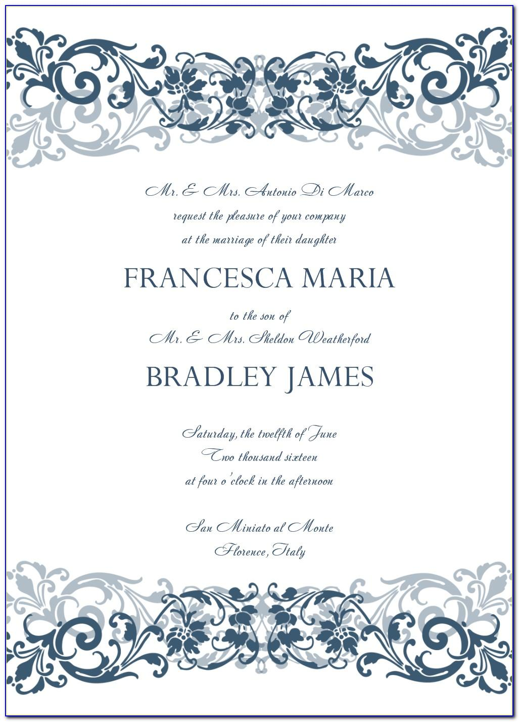 Microsoft Word Wedding Invitation Template Free Download