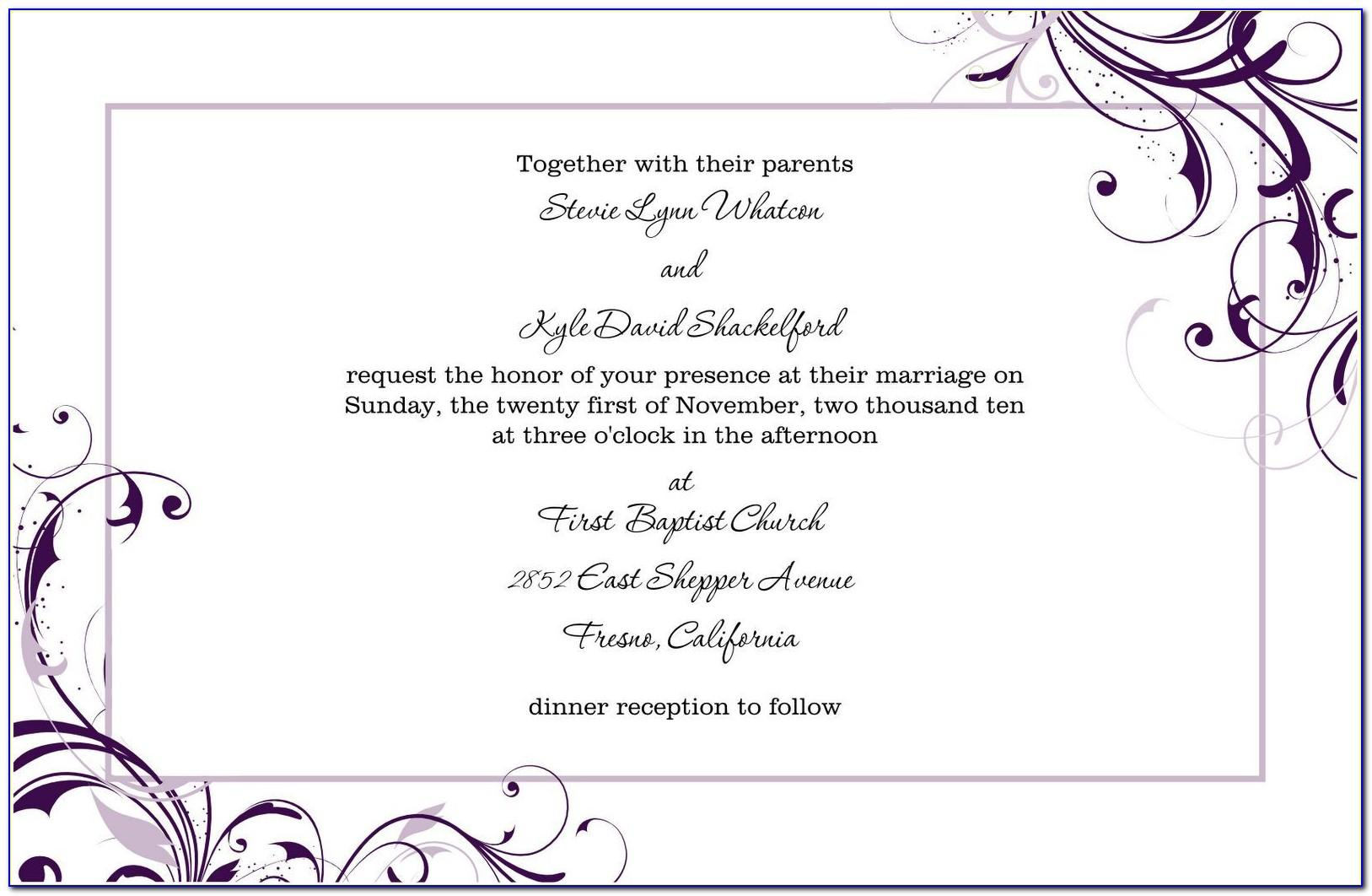 Microsoft Word Wedding Invitation Templates Free Download