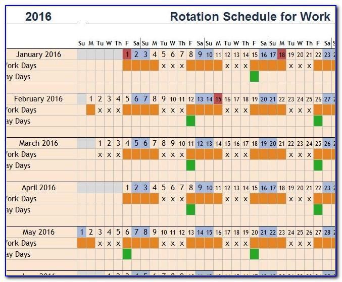 Monthly Rotation Calendar Template