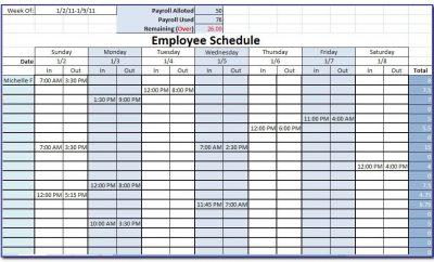 Monthly Staff Work Schedule Template Excel