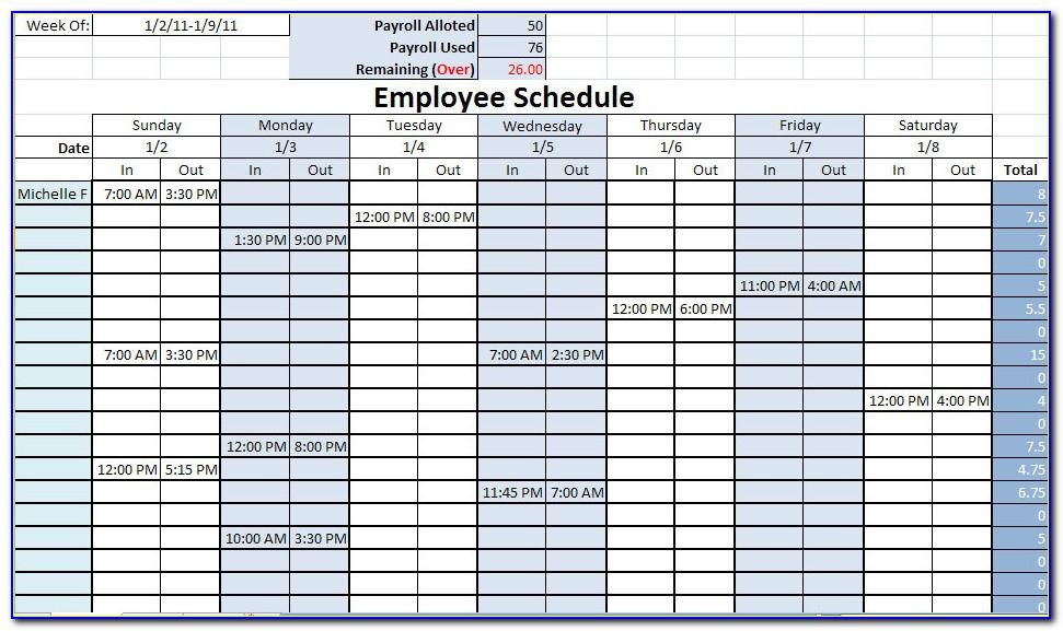 Monthly Staff Work Schedule Template Excel