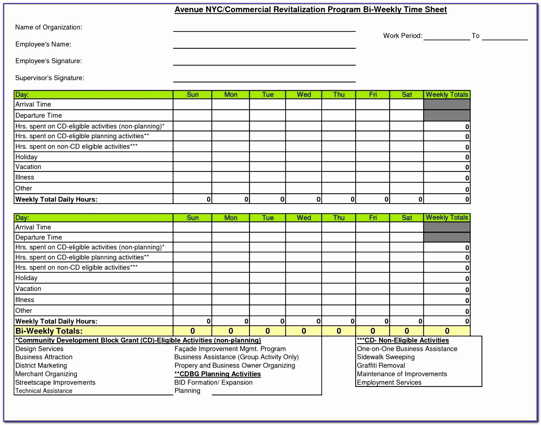 Monthly Timesheet Template For Multiple Employees