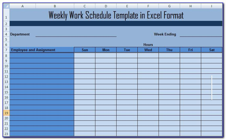 Monthly Work Calendar Template