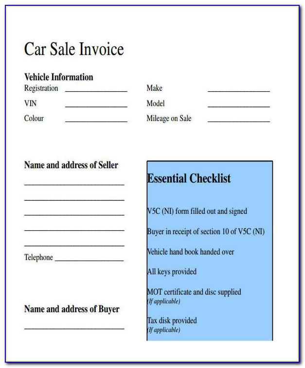 Motor Vehicle Sales Receipt Form