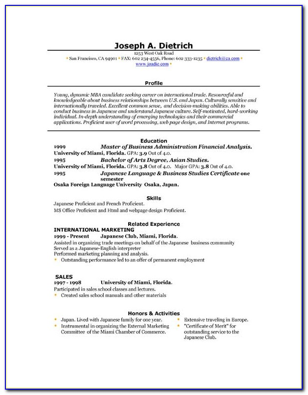 Ms Word Templates For Resume