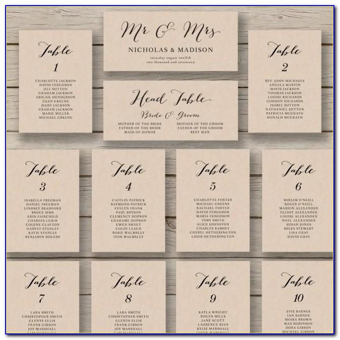 Ms Word Wedding Seating Chart Template
