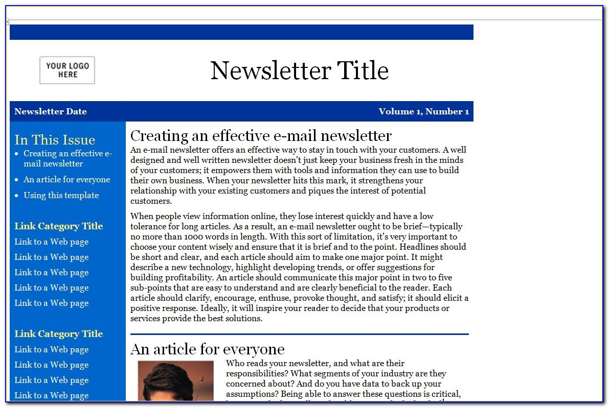 Newsletter Template Word 2007 Free