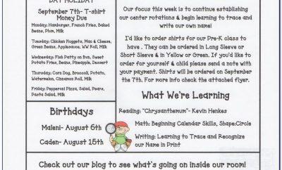 Newsletter Templates For Preschool Teachers