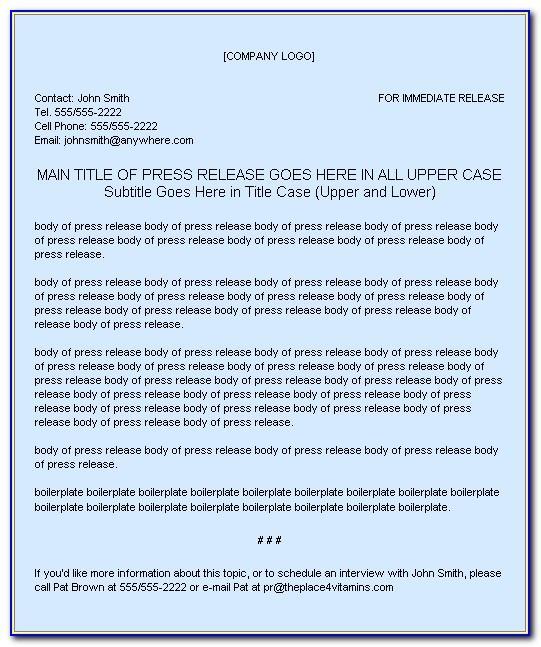Press Release Written In Apa Format