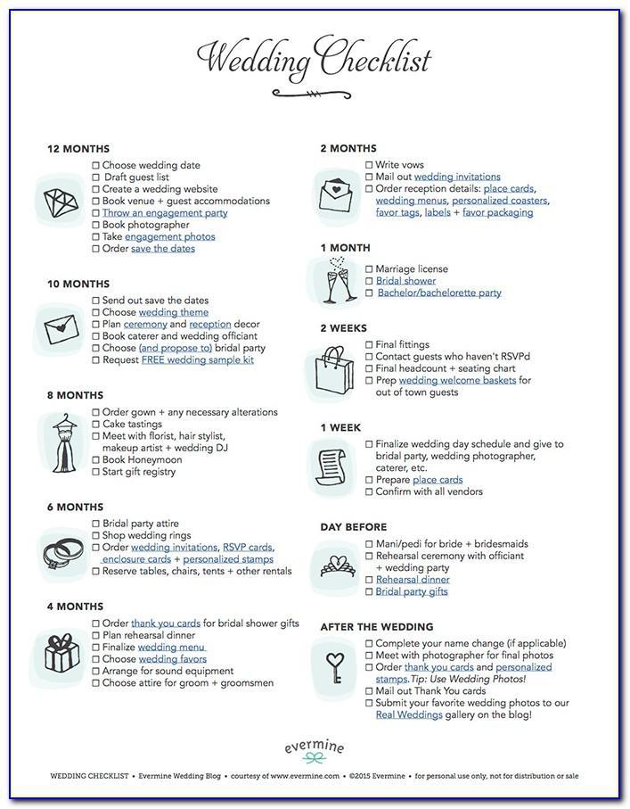 Printable Wedding Planner Checklist Pdf