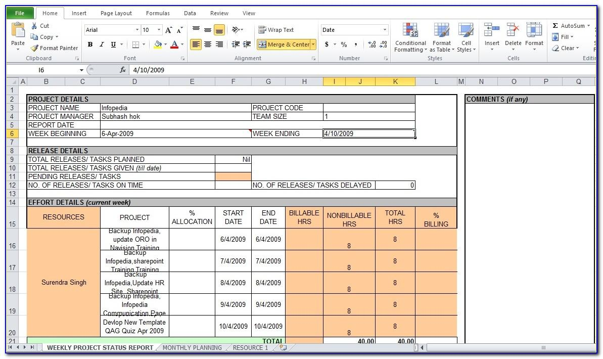 Project Report Template Excel