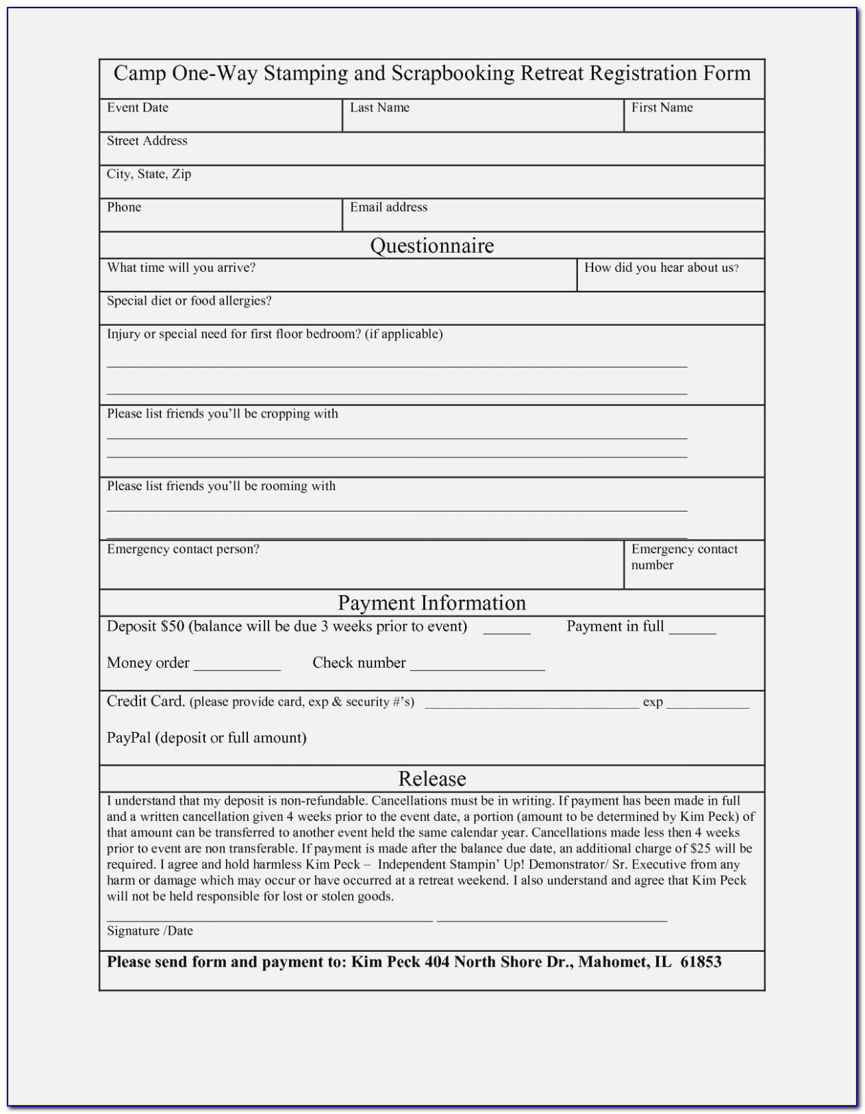 Registration Form Template Free Download Pdf