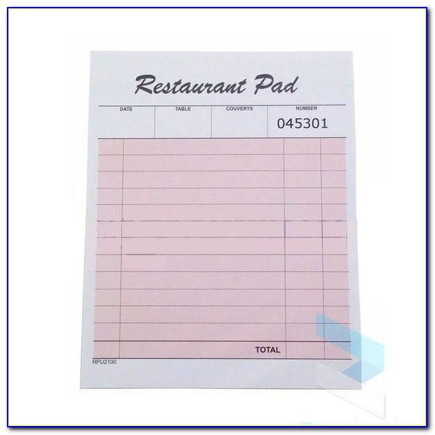 Restaurant Server Order Pad Template