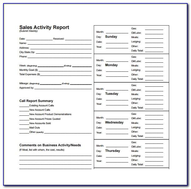 Sales Activity Report Excel Templates