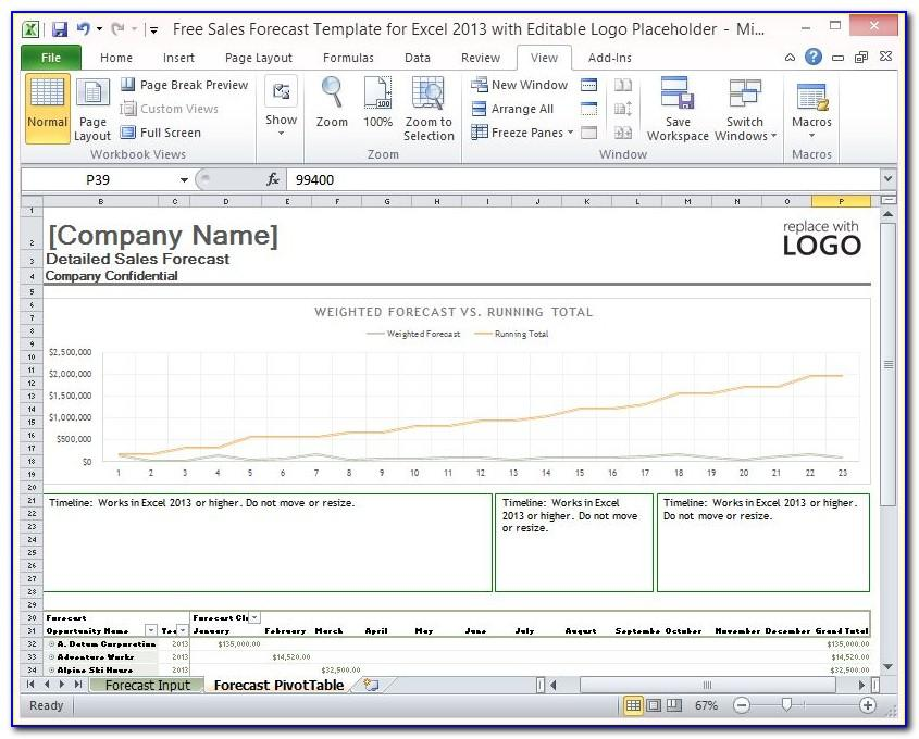 Sales Forecast Templates Excel