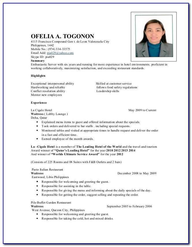 Sample Resume For Waiter Philippines