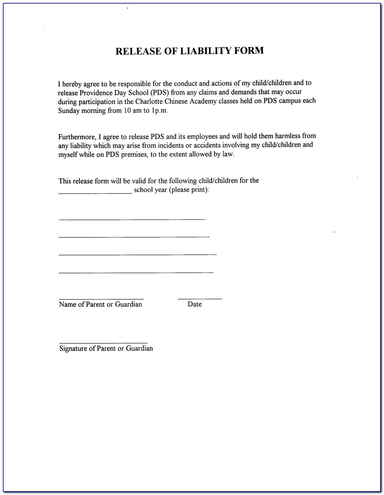 Sample Waiver Of Liability Form Canada