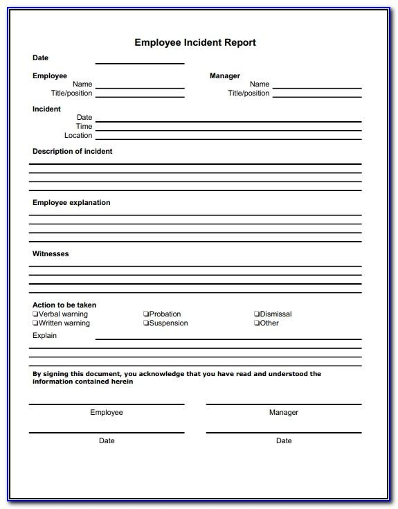 Sample Workplace Incident Report Form