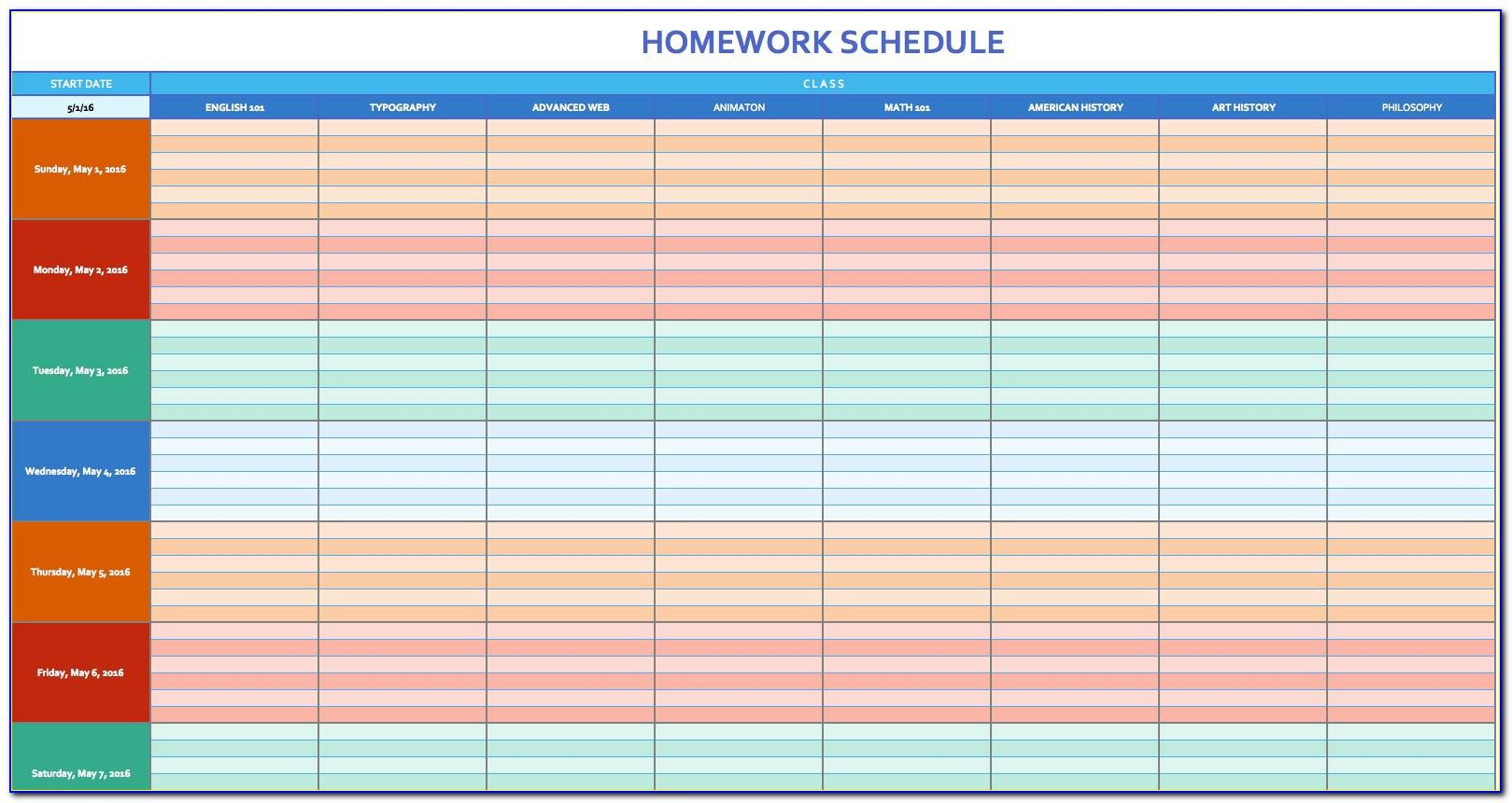 Schedule Calendar Template 2015