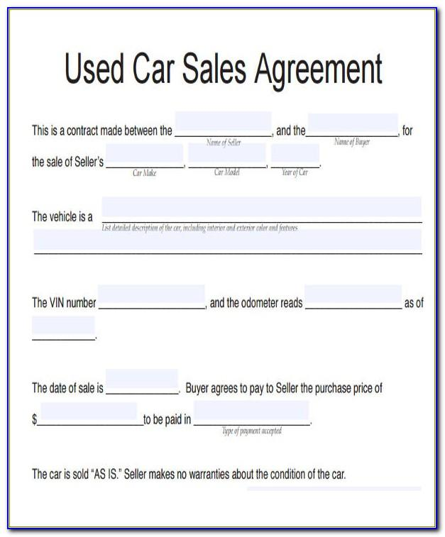Selling Car Agreement Template Uk