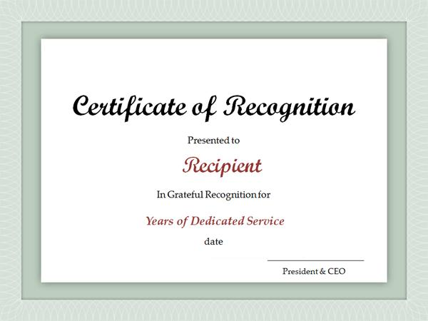 Service Award Certificate Templates Free