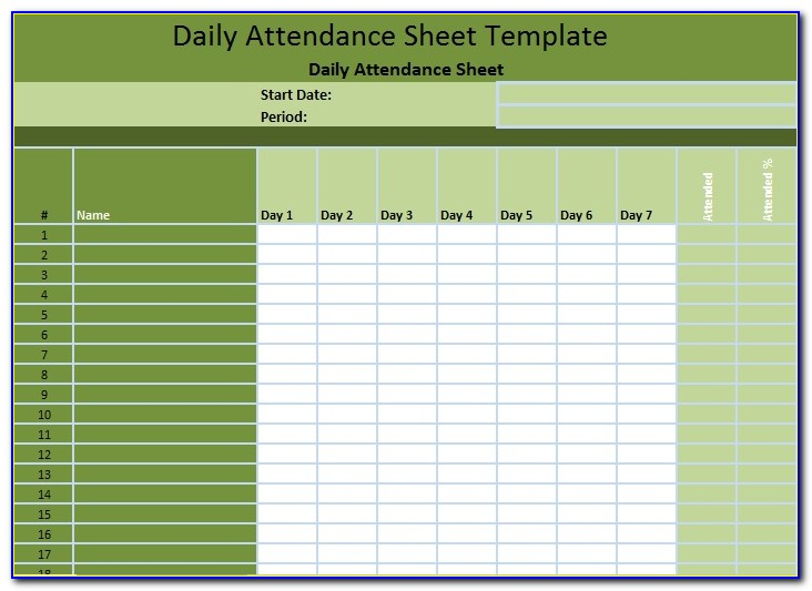 Staff Attendance Sheet Excel Template