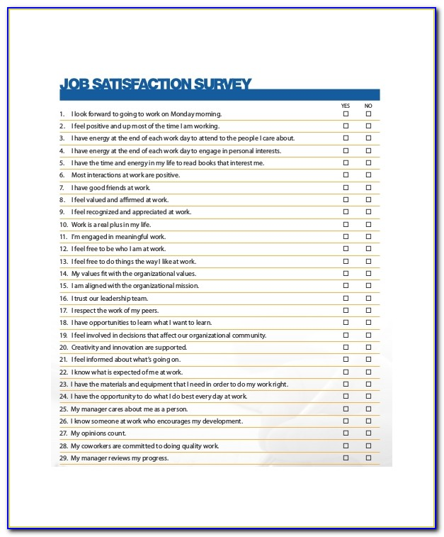 Staff Satisfaction Survey Form