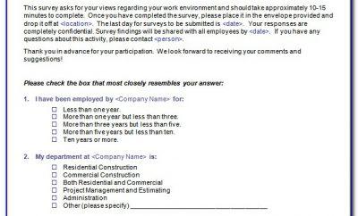 Staff Satisfaction Survey Template Free