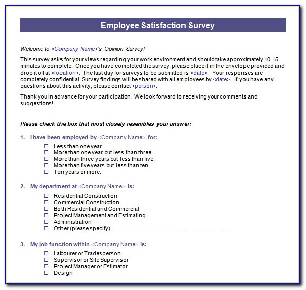 Staff Satisfaction Survey Template Free