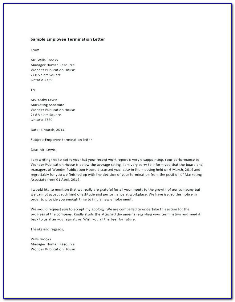 Template Termination Of Employment Letter